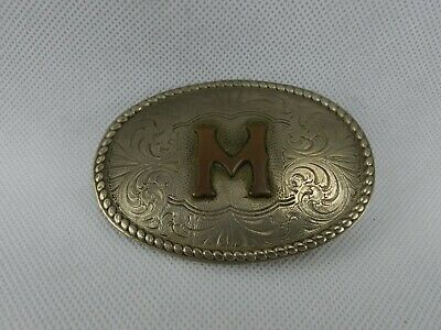 Vintage Chambers Nevada Silver Bronze USA Western Belt Buckle Letter INITIAL M
