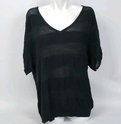 Torrid Thin Black Striped Shirt Top Blouse Plus V Neck Size 2 or 2X 18/20