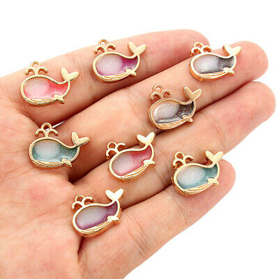 10pcs Gold Enamel Dolphine Alloy Charms Pendant DIY Earrings Jewelry Findings
