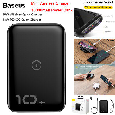 Baseus 18W PD QC3.0 Fast Charge 10000mAh Power Bank Wireless Charger W/Bracket