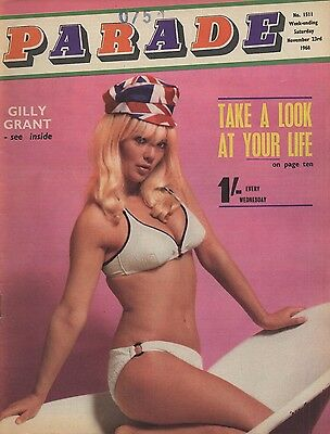 Vintage UK men's magazine Parade 1968-1511 Gilly Grant, Claire Piers