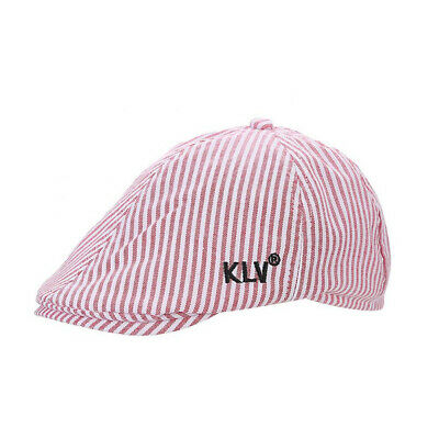 England Style New Baby's Beret Hat Red Striped 6Pcs Splicing Soft Cotton Cap