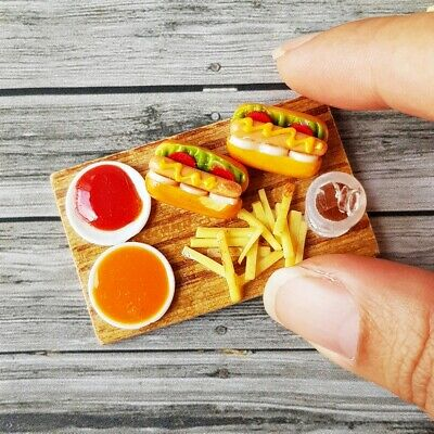 Burger French Fries Dollhouse Miniatures Food Meal Decor Barbie Supply Set New