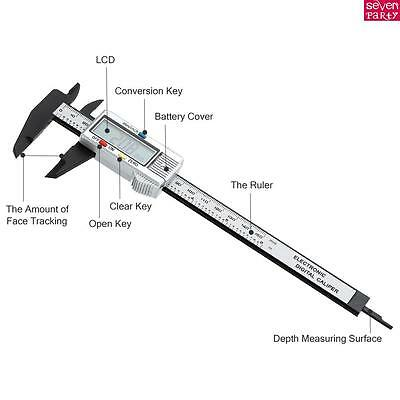 6'' 150mm Vernier Caliper LCD Electronic Digital Gauge Stainless Micrometer-