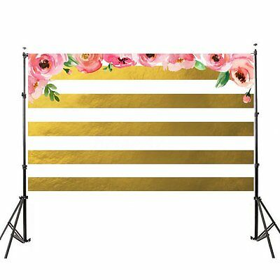 3x5ft Pink Flowers Gold White Stripe Photo Background Vinyl Photography