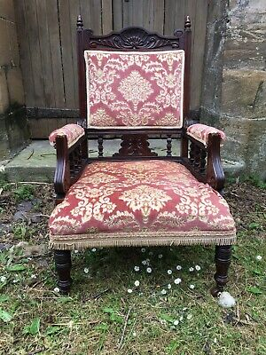 Victorian Carved Mahogany Library Throne Chair With Original Upholstery Castors
