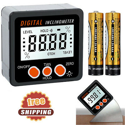 Digital Magnetic Protractor Inclinometer Level Box 4*90° Angle Finder Waterproof