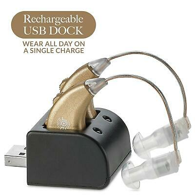 Digital Hearing Amplifier Rechargeable BTE Personal Sound Amp Pair With USB Dock