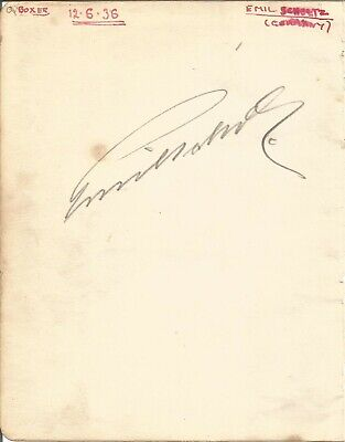 Emil Schulz signed piece with Jock McAvoy on reverse,Boxer E1872