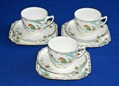 Vintage Wetley China 3 X Trios, Tea Cup, Saucer & Side Plate. Kingfisher Pattern