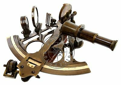 Antique Brass Marine Sextant Nautical Instrument Vintage Ship Desk Astrolabe
