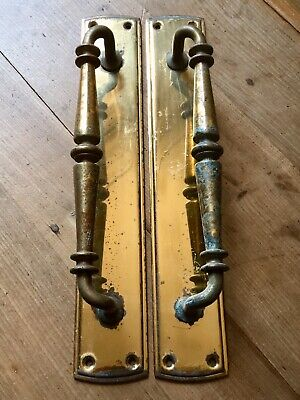 "Pair Solid Brass Vintage Door Pull Handles 15"" Heavy Reclaimed Salvage"