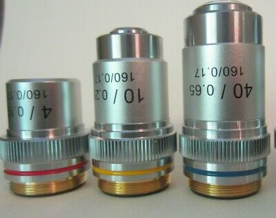 AmScope Achromatic Microscope  Objectives : 4X, 10X, 40X  Lot of 3 pieces