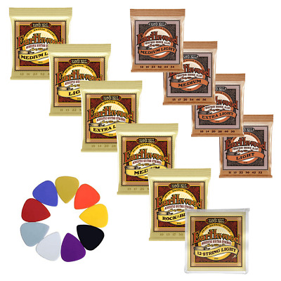 Earthwood Phosphor Bronze / Bronze Acoustic Guitar Strings + FREE PICKS