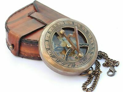 Antique Brass Sundial Compass W/ Leather Case & Chain Push Open Compass Gift