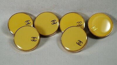 Set of 6 Authentic CHANEL Yellow & Gold CC 25mm Buttons