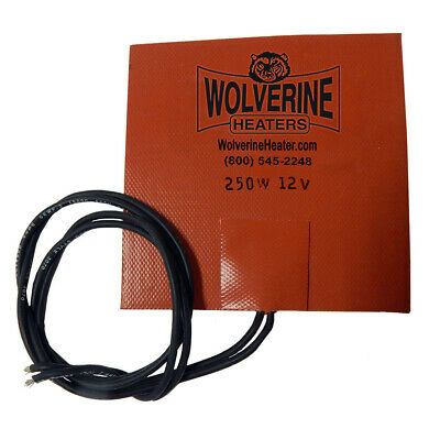 "Wolverine Silicone Pad Heater 5 x 5"" 250w 12v - Engine Oil Sump Fuel Filter"