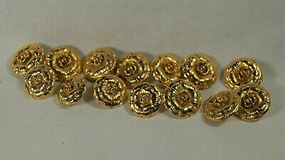 14 Authentic CHANEL Gold Camellia Flower 16 & 18mm Buttons