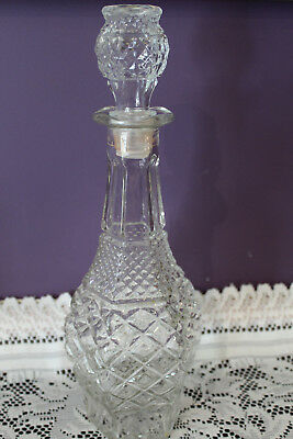 """Vintage Anchor Hocking Clear Glass Wexford 14-1/2"""" Wine / Whiskey Decanter"""