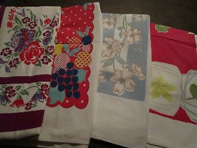 4 Vintage Floral Print Tablecloths ~ Florals Fruits