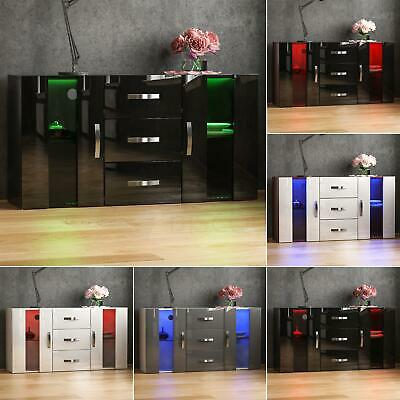 Astro LED Sideboard 2 Door 3 Drawer Buffet Storage Cupboard Cabinet High Gloss