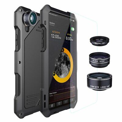 Aluminum Metal Phone Case Cover+3 Camera Lens Waterproof for IPhone XS 7 8 Plus