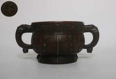Very Rare Old Chinese Copper Incense Burner With Xuande Mark (136)