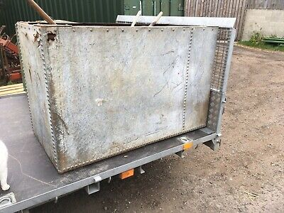 Vintage Old Riveted Galvanised Square Water Tank Garden Planter Water Feature