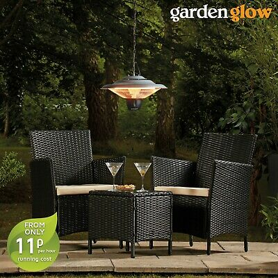 Garden Glow Outdoor Electric Mounted Halogen 1500W Hanging Ceiling Patio Heater