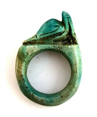 Rare Ring Egyptian Antiques Ibis Figurine Amulet Stone Carved Ancient Faience