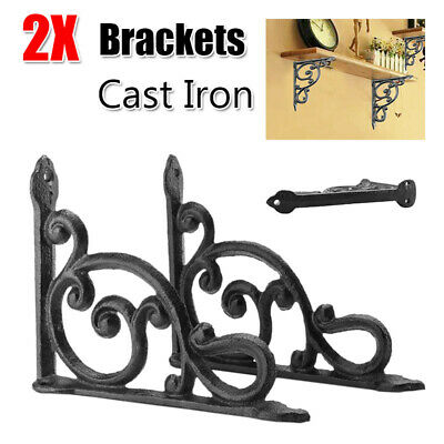 1 Pair Cast Iron Antique Style Brackets Garden Braces Rustic Shelf Bedroom Decor