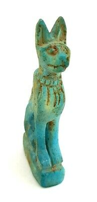 Amazing Bastet Necklace Rare Egyptian Antiques Bast Faience Unique Cat Amulet