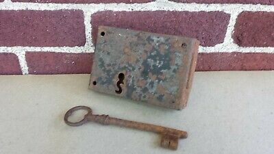 Antique Hand Forged Rim Mount Door Chest Dead Bolt With Key Two Turn Latch Old