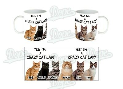 Personalised Crazy Cat Lady, Funny Novelty Coffee Mug, Tea Cup, Gifts for Her