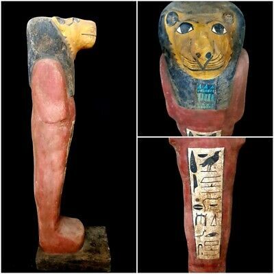 Giant Sekhmet Sculpture Egyptian Antique Rare Wooden Bead Hieroglyphic Statuette
