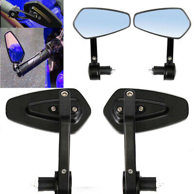 "1 Pair 7/8"" Motorcycle Bar End Rear View Side Mirrors Universal Black Rearview"