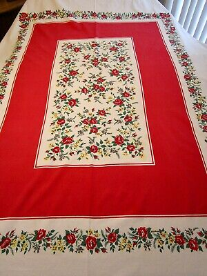 Vintage Tablecloth Roses Pansies Print Banquet 54 X 84 Red Yellow