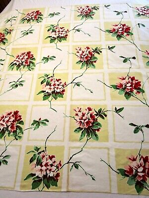 Vintage Tablecloth Wilendur Rhododendron Azalea Red Yellow Pink Print Square