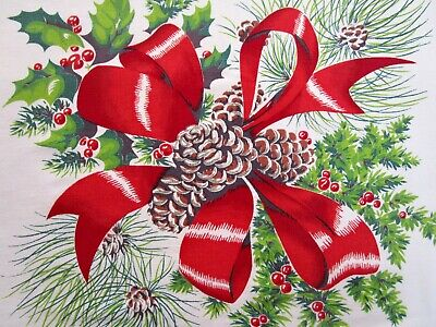 Vintage Tablecloth Wilendur Christmas Holly Berry Pine Cone Bows Banquet 55X80
