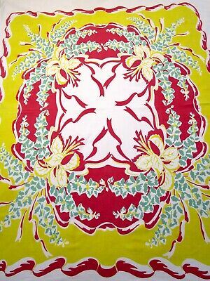 Vintage Tablecloth Foxglove Ribbon Print Red Yellow Teal Green 40S 50S 44X57