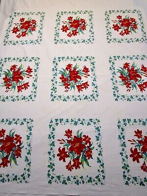 Vintage Tablecloth Wilendur Red Day Lilies Green Ivy. Print 46 X 54 Mcm 50S 40S
