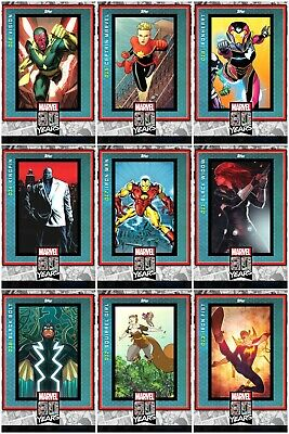 Topps MARVEL COLLECT DIGITAL Card 80 YEARS Wave 2 Complete Set of 9 Card Base