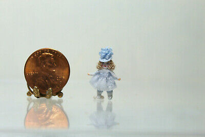 Dollhouse Miniature Tiny Doll in Pale Blue Dress by Cheryl Warder