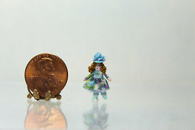 Dollhouse Miniature Tiny Doll in Blue Floral Dress by Cheryl Warder