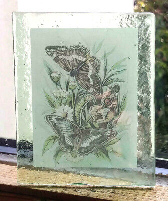 Stained Glass Butterfles - Kiln fired  glass fragment / painted  pane! 1 of 2