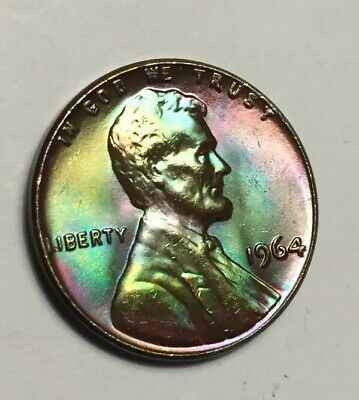 1964 Flawless BU LINCOLN CENT  Monster Rainbow Toned
