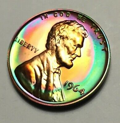 1964 Gem Proof LINCOLN CENT  Monster Rainbow Toned