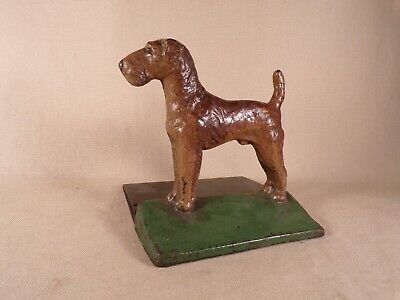 Antique Wire Hair Fox Terrier Airedale Dog Door Stop Cast Iron Rare