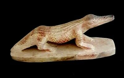 Egyptian Antique Crocodile Figurine Ancient Carved Stone Sacred Animal Sculpture