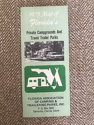 Vintage Brochure 1973 Map Of Florida's Private CampgroundsTravel Trailer Parks